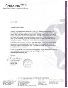 Reference Letter from Maximo Nivel