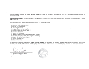 TEFL Certificate (back)
