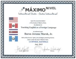 TEFL Certificate (front)