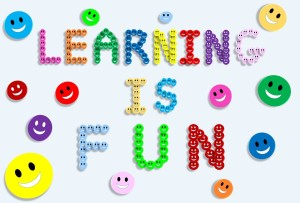 """Image with the quote, """"Learning is fun"""""""